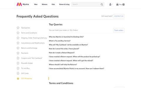 Screenshot of FAQ Page myntra.com - FAQS - captured May 6, 2017