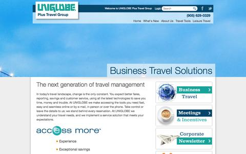 Screenshot of Home Page uniglobeplus.com - Corporate Travel Experts - captured Oct. 7, 2014