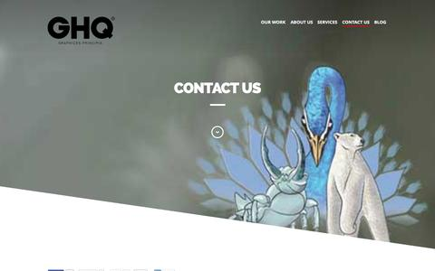 Screenshot of Contact Page ghqdesign.com - GHQ Contact us - GHQ design, award winning graphic design studio - captured Sept. 29, 2014