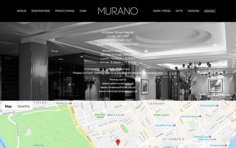 Screenshot of Contact Page muranolondon.com - Angela Hartnett's Michelin Starred Restaurant - Murano - captured Oct. 21, 2018