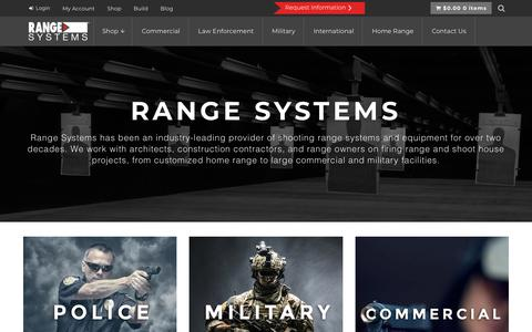Screenshot of Home Page range-systems.com - Range Systems - Indoor and Outdoor Shooting Ranges, House & Facilities - captured Sept. 20, 2018