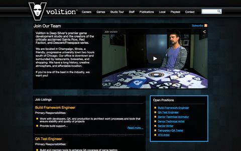 Screenshot of Jobs Page dsvolition.com - Careers – Deep Silver Volition - captured Feb. 8, 2016