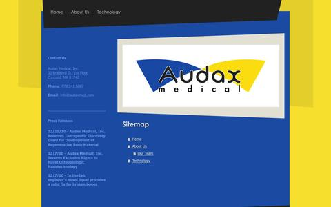 Screenshot of Site Map Page audaxmed.com - Audax Medical - Home - captured Feb. 21, 2016