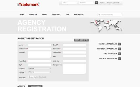 Screenshot of Signup Page itrademark-tm.com - Agency Registration | iTrademark ™ - captured Oct. 6, 2014