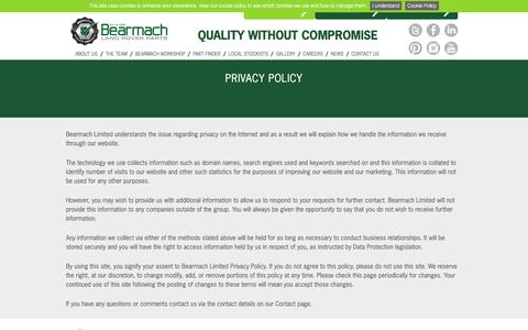 Screenshot of Privacy Page bearmach.com - Privacy Policy - Bearmach - captured July 28, 2016