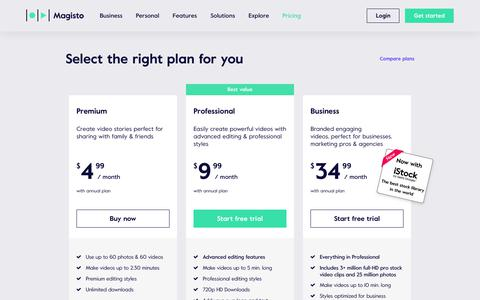 Screenshot of Pricing Page magisto.com - Online Video Editor by Magisto | Plans and Pricing - captured Feb. 13, 2019