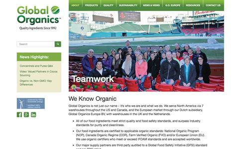 Screenshot of About Page global-organics.com - About Global Organics - Certified Food Ingredients - Fair Trade Products - captured Jan. 29, 2016