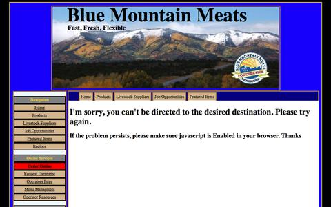 Screenshot of Contact Page Products Page Testimonials Page bluemountainmeats.com captured June 1, 2017