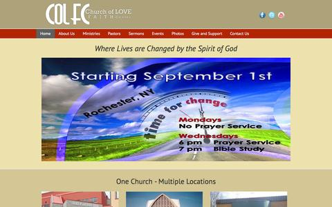 Screenshot of Home Page colfc.org - Church of Love Faith Center – Where Lives are Changed by the Word of God - captured Oct. 2, 2014