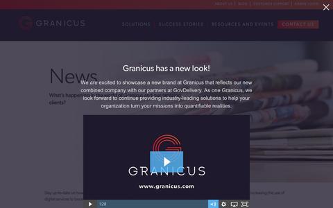 Screenshot of Press Page granicus.com - News - Granicus - captured Feb. 26, 2017