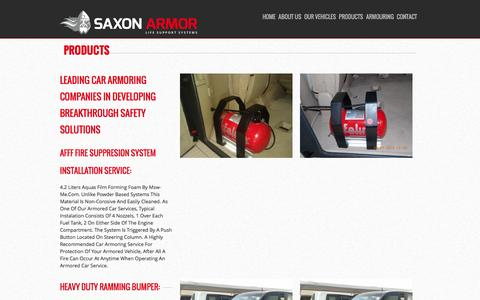 Screenshot of Products Page saxonarmor.com - Car Armoring Companies in Dubai | Armored Car Services UAE - captured Nov. 19, 2016