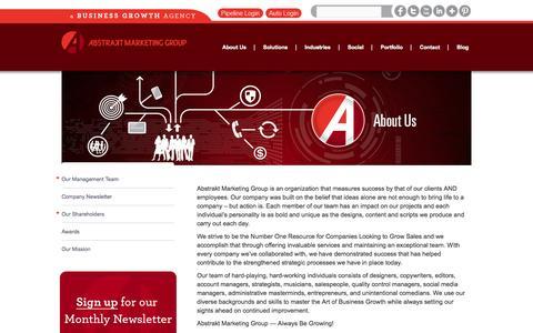 Screenshot of About Page abstraktmg.com - St. Louis Marketing Agency | Abstrakt Marketing Group   | Abstrakt Marketing Group - captured Sept. 23, 2014
