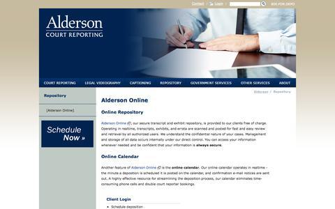 Screenshot of Login Page aldersonreporting.com - Alderson Online   Alderson Reporting - captured Oct. 4, 2014
