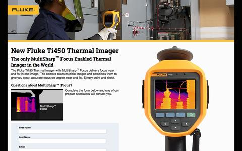 Screenshot of Landing Page fluke.com - New Fluke Ti450 Thermal Imager - captured Aug. 14, 2016