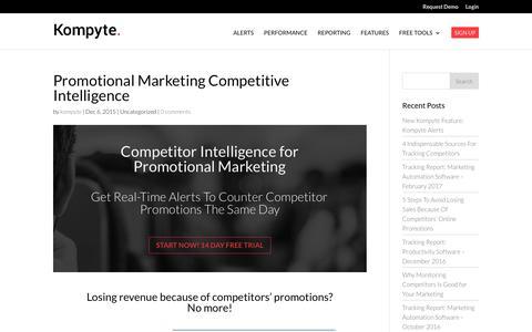 Promotional Marketing Competitive Intelligence | Kompyte