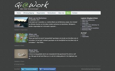 Screenshot of Blog qi-at-work.nl - Qi at Work biedt workshops Zhineng Qigong - captured Sept. 29, 2014