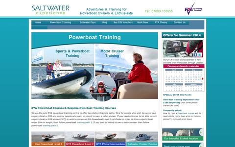 Screenshot of Home Page saltwaterexperience.co.uk - Powerboat Courses - RYA powerboat level 2 courses and more   Saltwater Experience   South Coast - captured Sept. 30, 2014