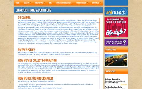 Screenshot of Terms Page uniresort.com.au - Uniresort terms & conditions - captured Oct. 27, 2014