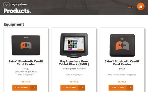 Screenshot of Products Page payanywhere.com - PayAnywhere - captured April 16, 2018