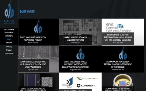Screenshot of Press Page sionyx.com - News   SiOnyx The Black Silicon Company - captured Sept. 17, 2014