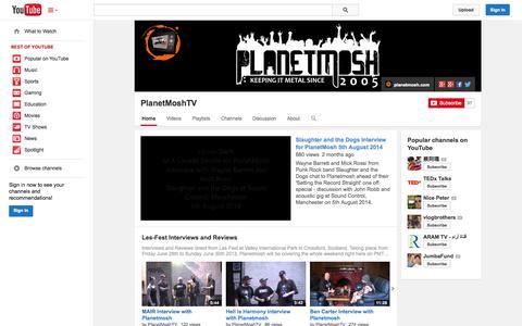 Screenshot of YouTube Page youtube.com - PlanetMoshTV  - YouTube - captured Oct. 22, 2014