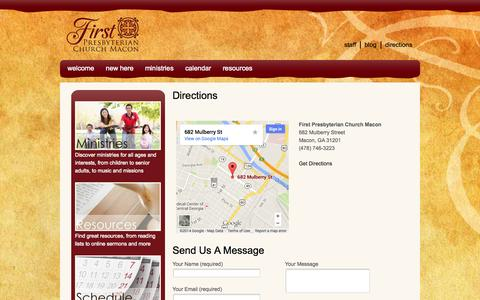 Screenshot of Maps & Directions Page fpcmacon.org - Directions - First Presbyterian Church - captured Oct. 6, 2014