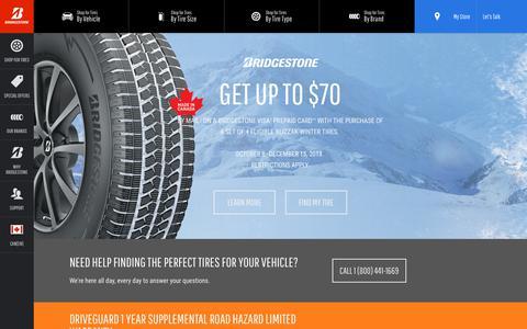 Screenshot of Home Page bridgestonetire.ca - Car Tires and Truck Tires | Bridgestone Tires - captured Nov. 26, 2018