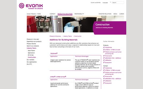 Additives for Building Materials - Construction Industry - Evonik Industries - Specialty Chemicals