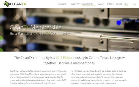 Screenshot of Signup Page cleantx.org - Join The CleanTX Community - Membership Information - captured July 19, 2018