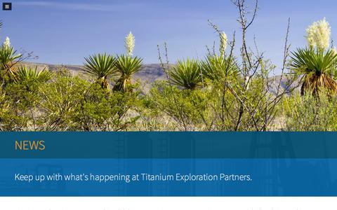 Screenshot of Press Page titaniumep.com - News at Titanium Exploration Partners - captured Feb. 23, 2016