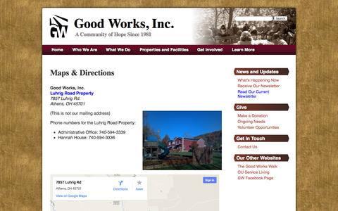 Screenshot of Maps & Directions Page good-works.net - Maps & Directions | Good Works, Inc. - captured Oct. 2, 2014