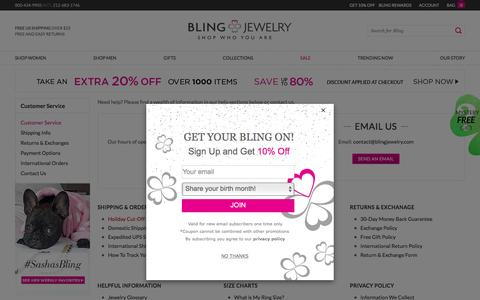 Screenshot of Support Page blingjewelry.com - Bling Jewelry Help Desk - Find Answers to All Your Jewelry Questions & Concerns - captured Feb. 23, 2017