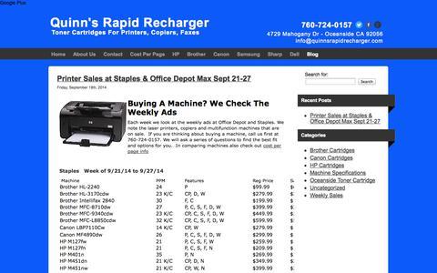 Screenshot of Blog quinnsrapidrecharger.com - Blog | Quinn's Rapid Recharger - captured Sept. 30, 2014