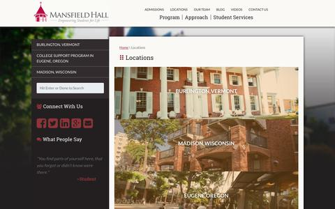 Screenshot of Locations Page mansfieldhall.org - Burlington, VT & Madison, WI College Readiness Programs | Mansfield Hall - captured Nov. 6, 2018