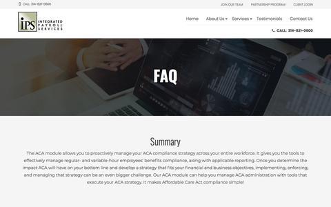 Screenshot of FAQ Page ipsonline.net - FAQ - IPS Integrated Payroll Services - captured Jan. 17, 2018