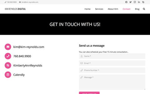 Screenshot of Contact Page kim-reynolds.com - Contact - Kim Reynolds Digital - captured Oct. 4, 2019