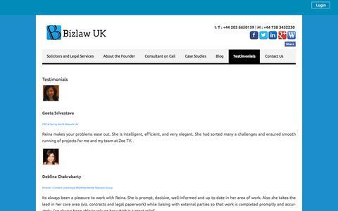 Screenshot of Testimonials Page bizlawuk.co.uk - Bizlaw UK - captured Aug. 2, 2018