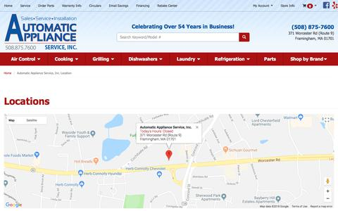 Screenshot of Contact Page Locations Page automaticapplianceservice.com - Appliances, Service and Parts in Framingham, Natick and Wayland MA | Automatic Appliance Service, Inc. - captured July 8, 2018