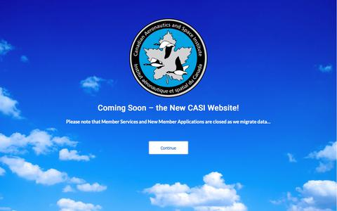 Screenshot of Home Page casi.ca - CASI – The Canadian Aeronautics and Space Institute - captured Sept. 26, 2018