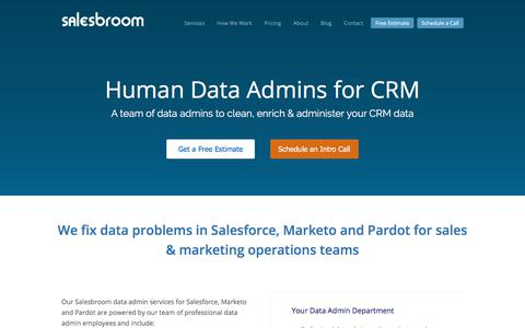 Screenshot of Home Page salesbroom.com - Salesbroom - Human Data Admins for Salesforce, Marketo, Pardot - captured Oct. 4, 2017