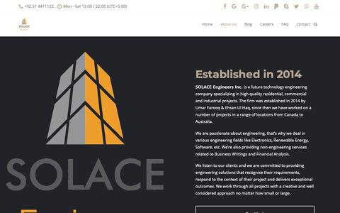 Screenshot of About Page solace-engineers.com - About Us – SOLACE Engineers - captured Oct. 1, 2018