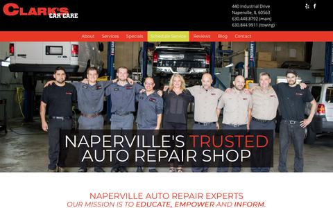 Screenshot of Home Page clarkscarcare.com - Naperville Auto Repair - Naperville's Trusted Mechanic - captured July 18, 2018
