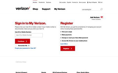 Screenshot of Login Page verizonwireless.com - My Verizon Online Sign In - Verizon Wireless - captured March 29, 2016