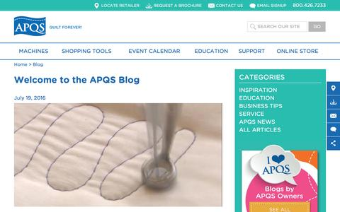 Screenshot of Blog apqs.com - Blog | APQS - captured July 23, 2016