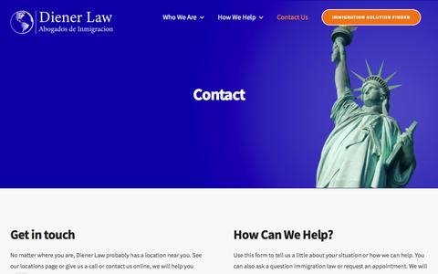 Screenshot of Contact Page dienerlaw.net - Contact - Immigration Attorneys - captured Aug. 2, 2019