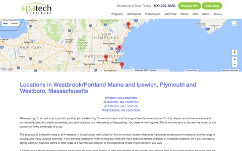 Screenshot of Locations Page spatech.edu - Spa Tech Institute - School Locations in Maine and Massachusetts - captured Oct. 26, 2017