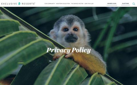 Screenshot of Privacy Page exclusiveresorts.com - Privacy Policy | Exclusive Resorts - captured Oct. 14, 2016