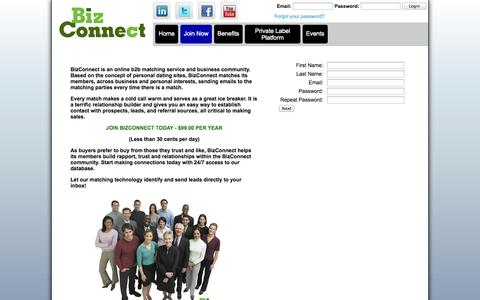 Screenshot of Signup Page bizconnectonline.com - Join BizConnect - BizConnect Online - captured Oct. 5, 2014