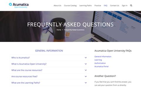 Screenshot of FAQ Page acumatica.com - Frequently Asked Questions - captured April 18, 2019