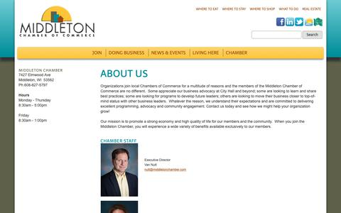 Screenshot of About Page middletonchamber.com - About Us - Middleton Chamber of Commerce - captured Oct. 18, 2018